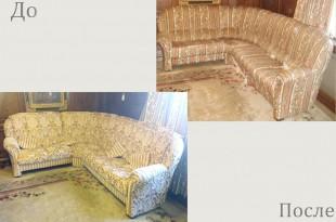 Перетяжка дивана до и после фото