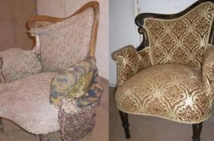 Перетяжка кресел фото до и после