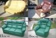 Перетяжка мягкой мебели фото до и после